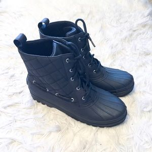 Sperry Black Lace Up Rain Booties